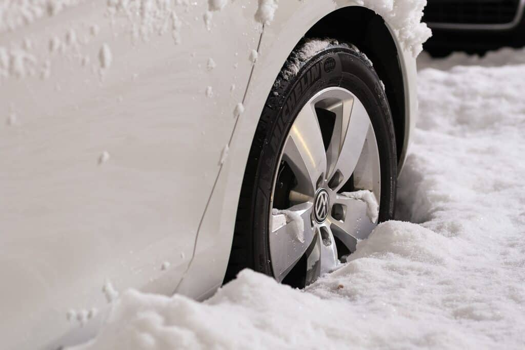 White Car Tires In Snow