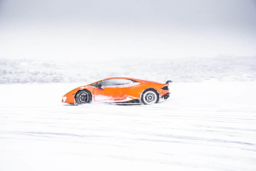 Orange Lamborghini In Snow